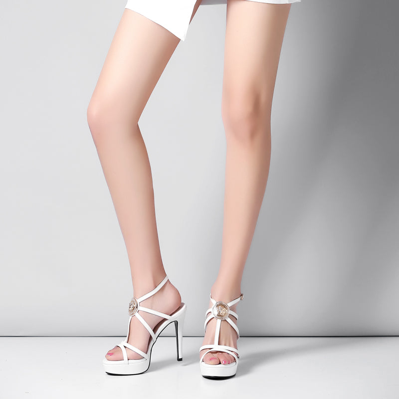 Head Layer Cowhide Pure Color Open Toe Stiletto Heel Metal Embellished Slingback Sandals
