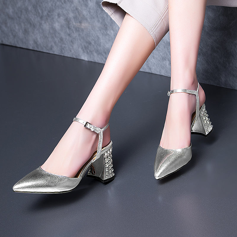 Head Layer Cowhide Pure Color Pointy Toe Crystal Block Heel Ankle Strap Fine Grained Sandals