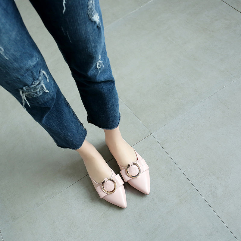 Head Layer Cowhide Pure Color Pointy Toe Low Block Heel Metal Embellished Mules