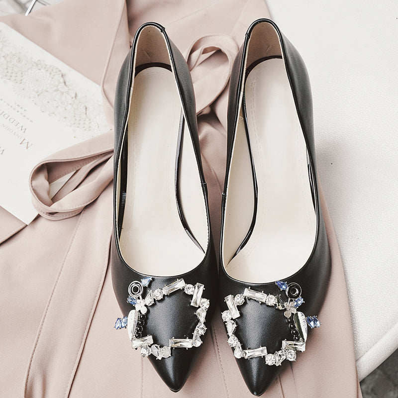 Head Layer Cowhide Pure Color Pointy Toe Stiletto Heel Crystal Embellished Pumps