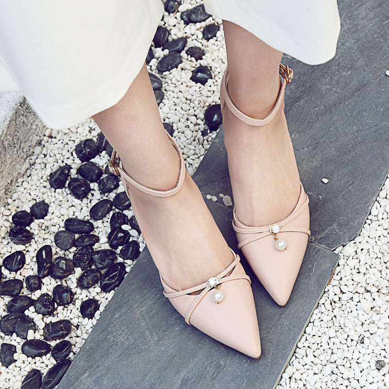 Head Layer Cowhide Pure Color Pointy Toe Stiletto Heel Crystal With Pearl Ankle Strap Sandals