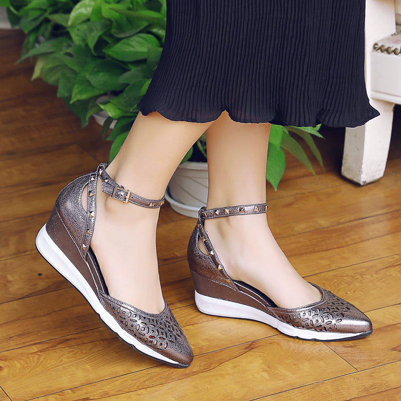 Leather Pointy Toe Wedge Heel Rivet Hollow Carved Ankle Strap Sandals