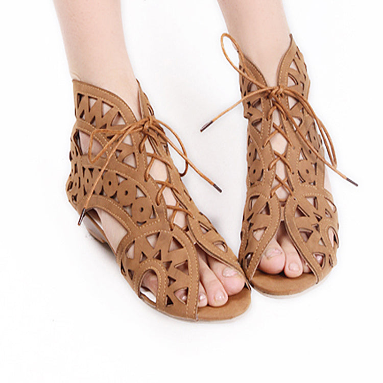 Leather Pure Color Peep Toe Wedge Heel Back Zipper Hollow-carved Sandals With Lace Up