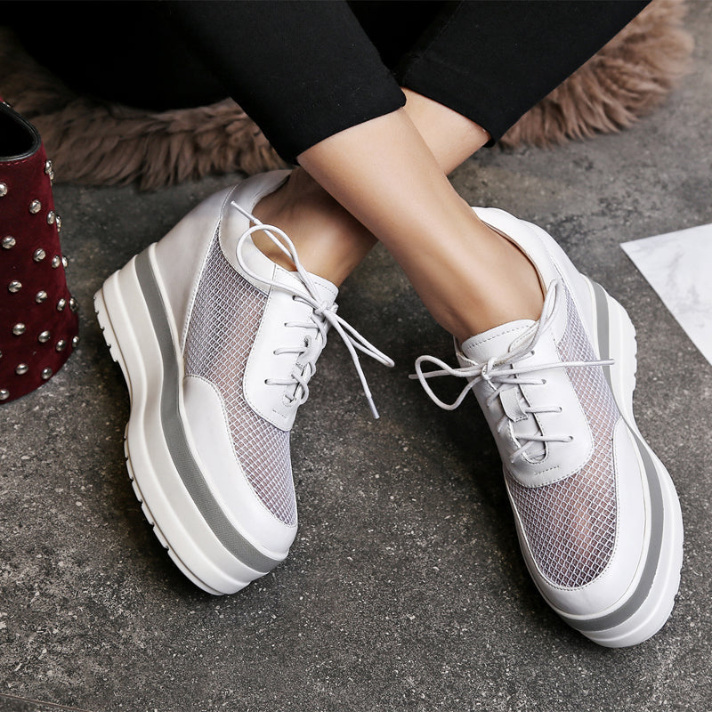 Mesh Round Toe Hidden Heel Lace Up White Sneakers