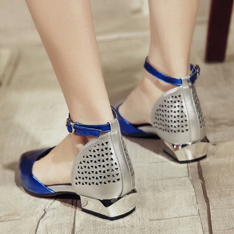 Mixed Color Pointy Toe Mirror Low Block Heel Back Hollow Carved Ankle Strap Sandals