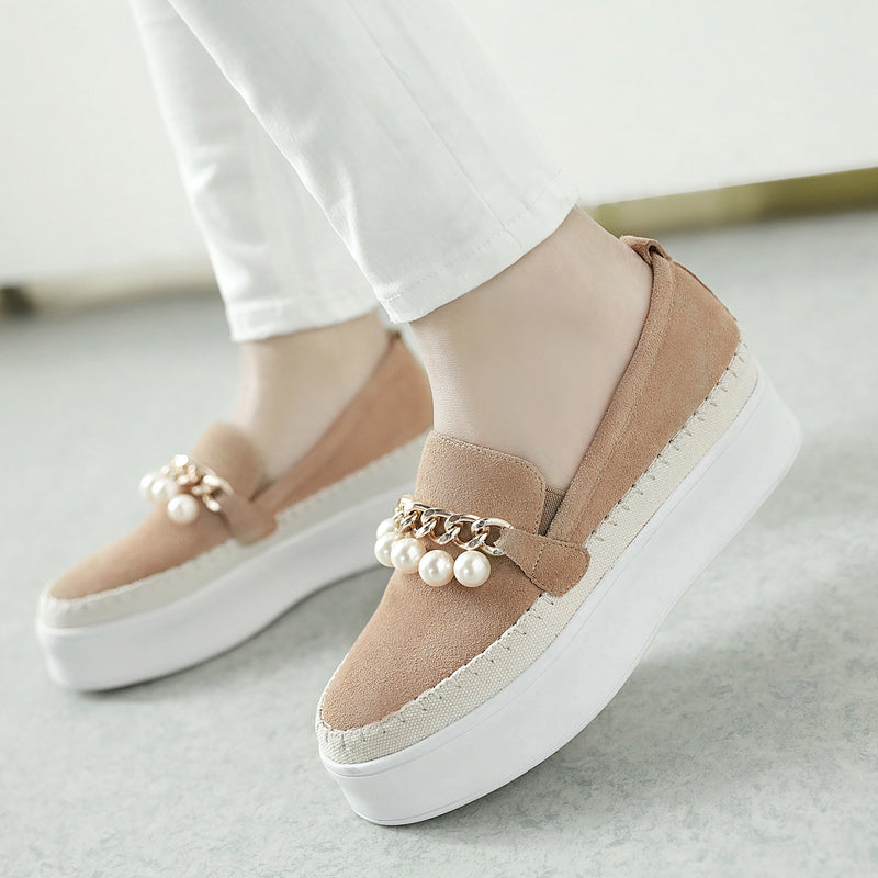 Mixed Color Round Toe Platform Heel Metal Chain With Pearl Loafers
