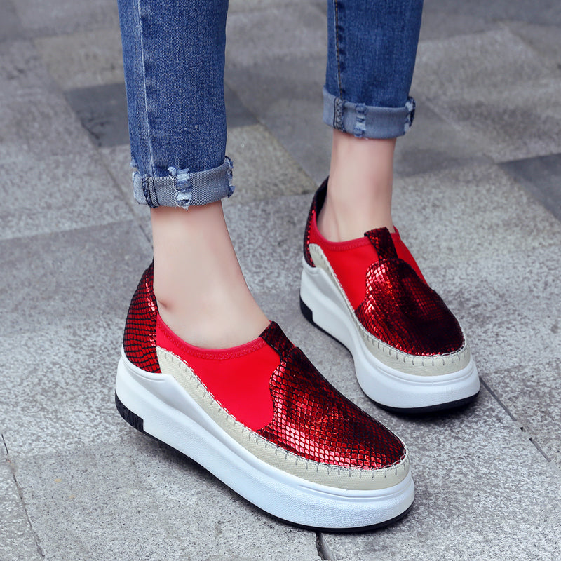 Mixed Color Round Toe Platform Heel Plaid Loafers