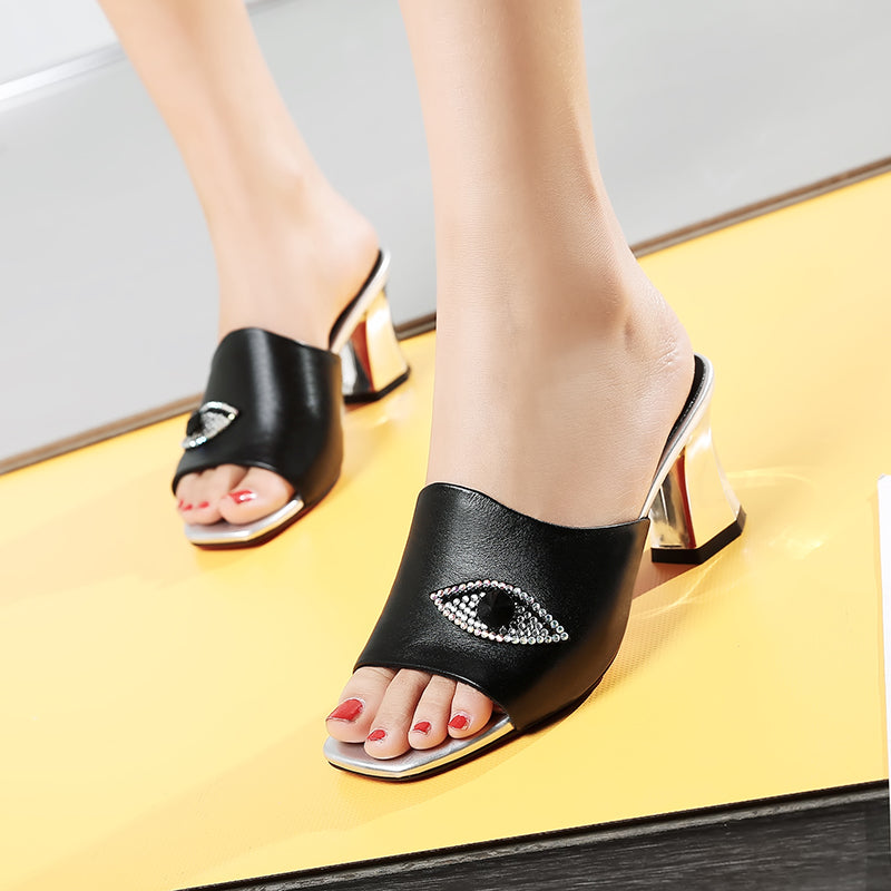 Open Toe Mirror Metallic Block Heel Crystal Eyes Shape Mules