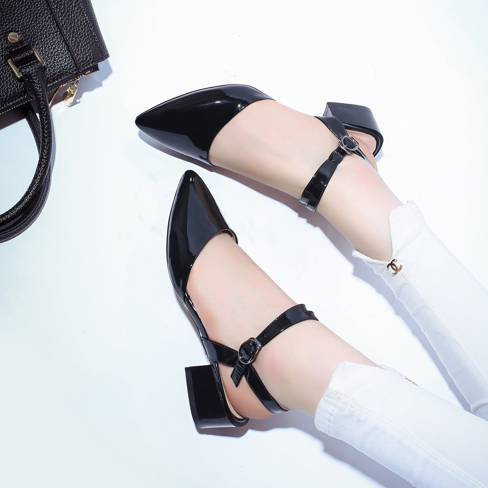 Patent Leather Pure Color Pointy Toe Chunkey Heel One-buckle Belt Sandals