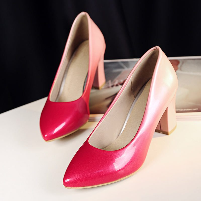 Patent Leather Gradient Color Pointy Toe High Block Heel Pumps
