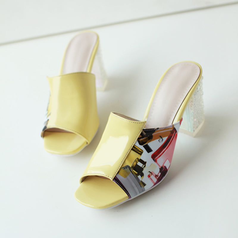 Patent Leather Mixed Color Open Toe Crystal Block Heel Mules