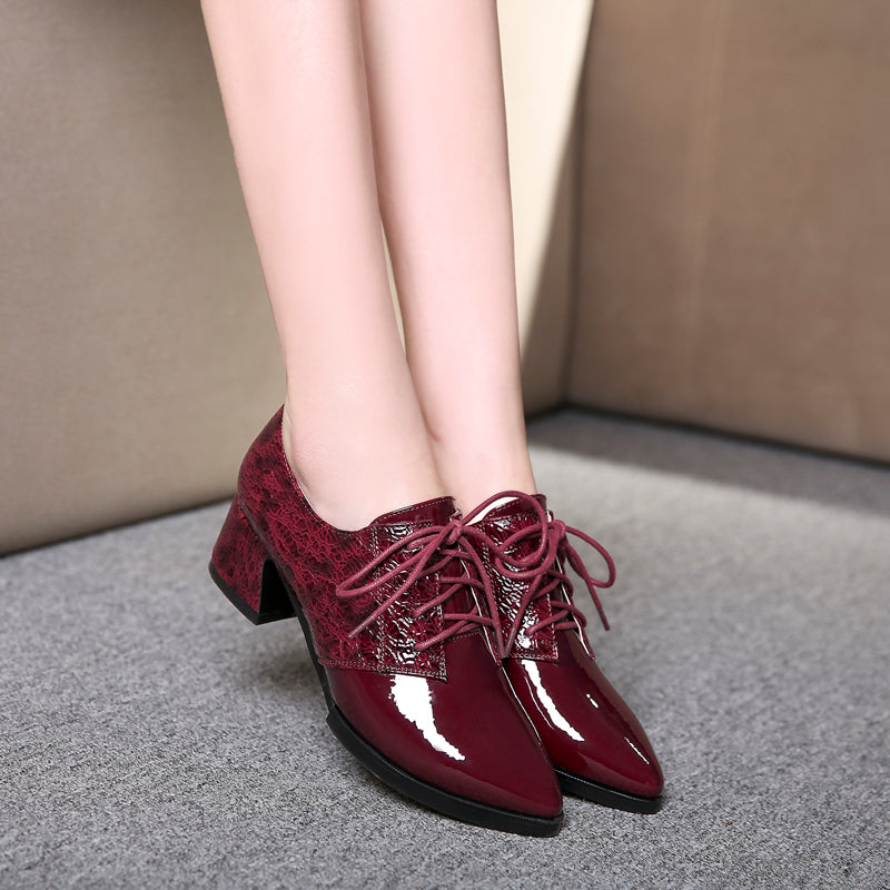 Patent Leather Mixed Color Pointy Toe Block Heel Lace Up Oxfords
