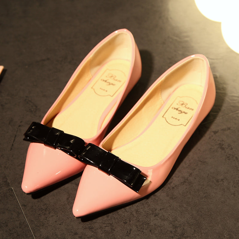 Patent Leather Mixed Color Pointy Toe Flat Heel Bowtie Loafers