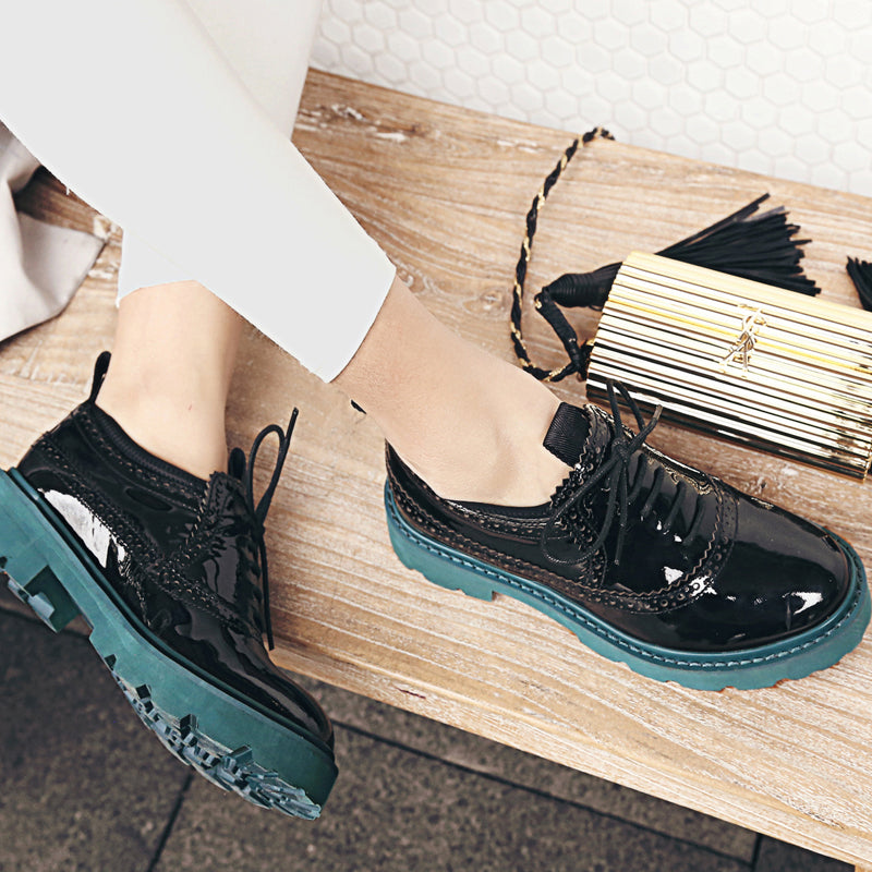 Patent Leather Mixed Color Round Toe Flat Heel Lace Up Brogues
