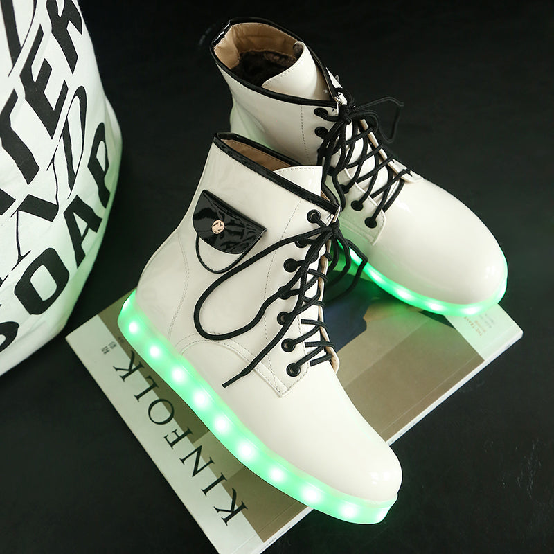 Patent Leather Round Toe Lace Up Pocket Embellished 7 Colors Led Light Sneakers