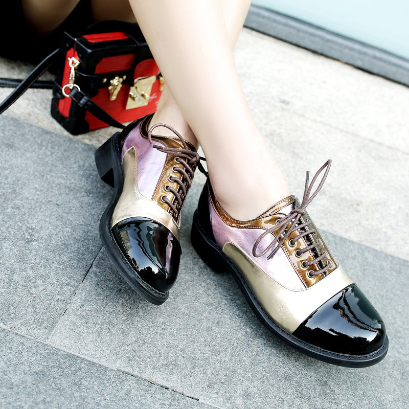 Patent Leather Mixed Color Round Toe Low Block Heel Lace Up Oxfords