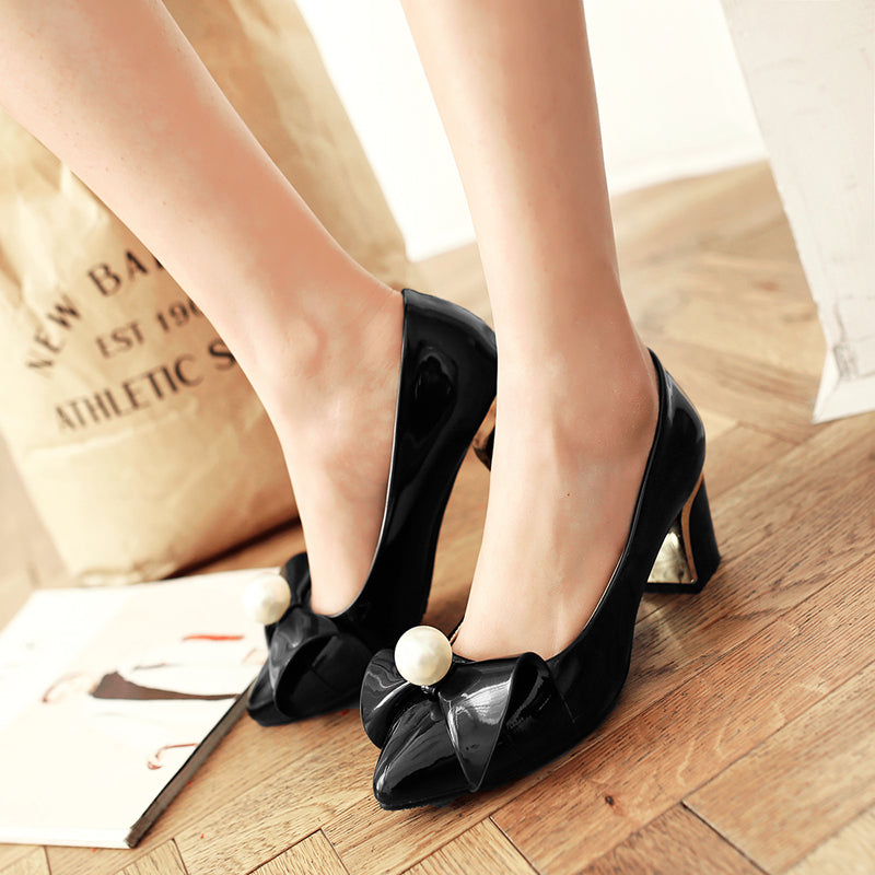 Patent Leather Pure Color Pointy Toe Block Heel Pearl Bowtie Court Shoes