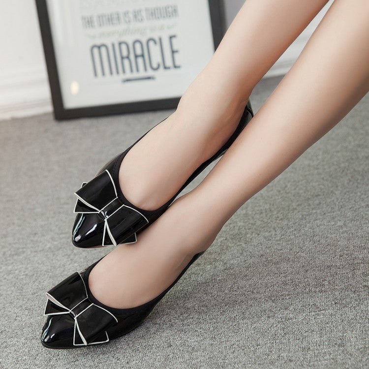 Patent Leather Pure Color Pointy Toe Flat Heel Bowtie Moccasin