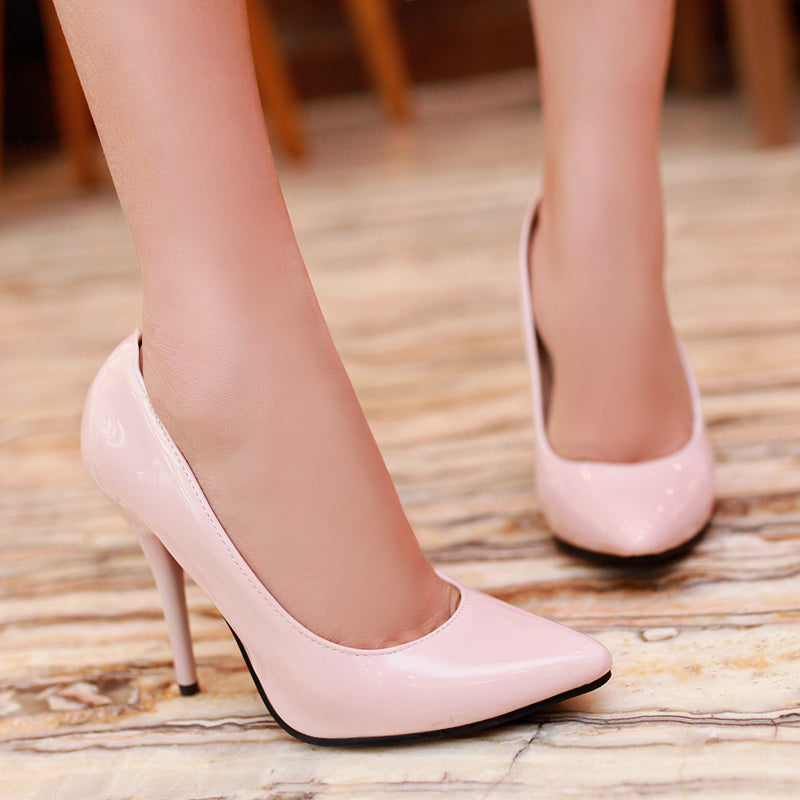 Patent Leather Pointy Toe High Stiletto Heel Pumps