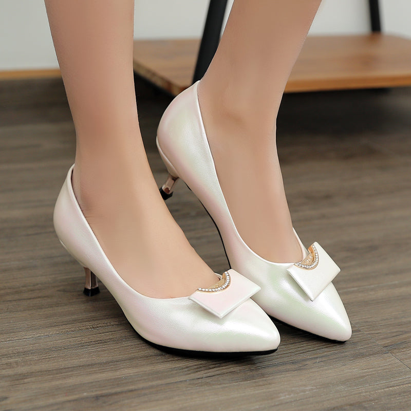 Patent Leather Pure Color Pointy Toe Kitten Heel Crystal Embellished Court Shoes