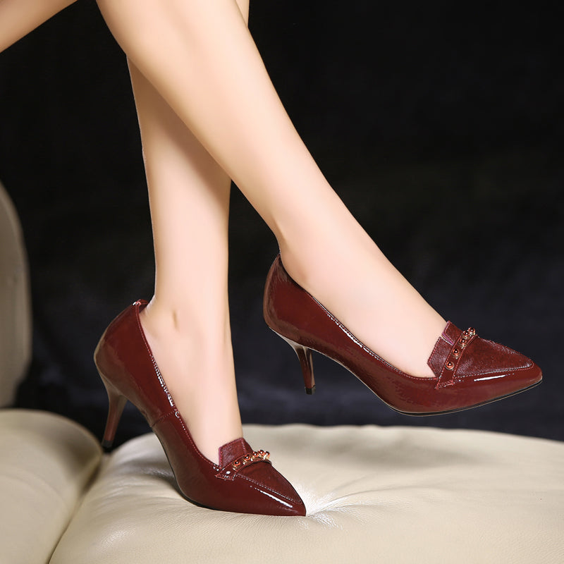 Patent Leather Pure Color Pointy Toe Stiletto Heel Pearl Loafers