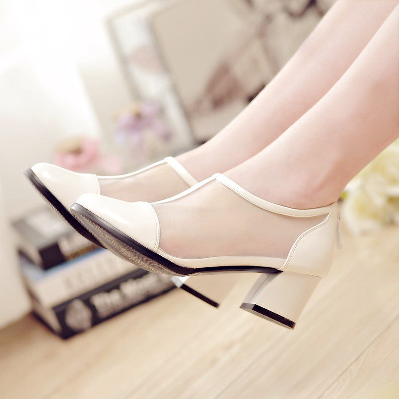 Patent Leather Pure Color Round Toe Block Heel Back Zipper Hollow Carved Sandals