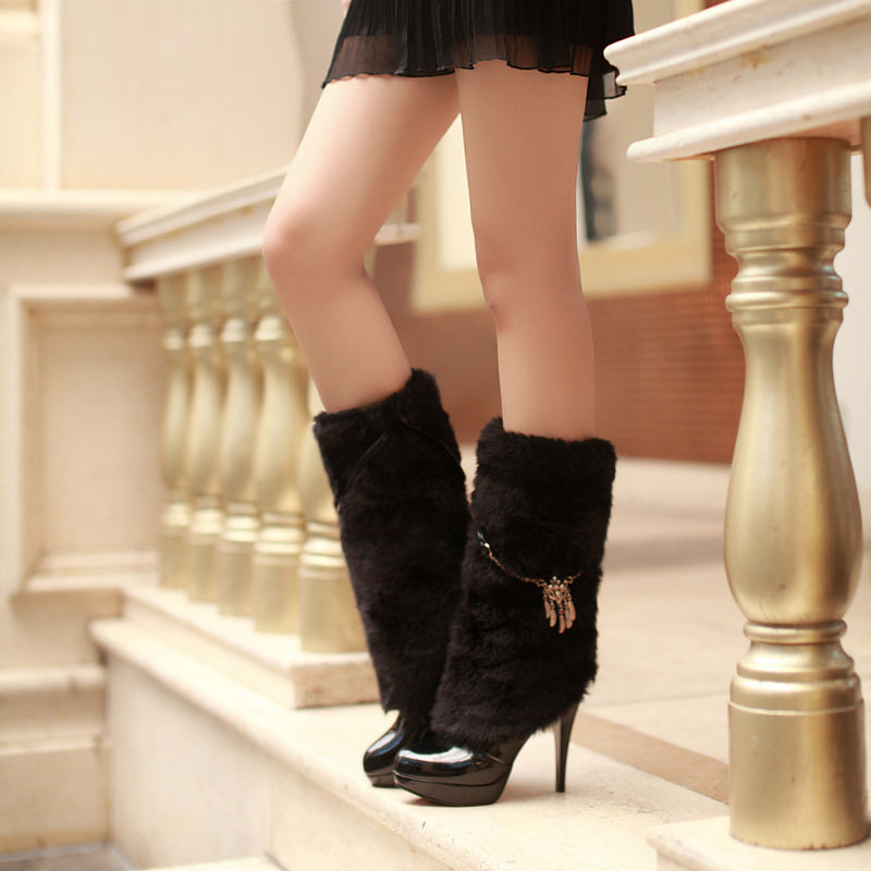 Patent Leather Pure Color Round Toe Stiletto Heel Velvet Embellished Mid-calf Boots