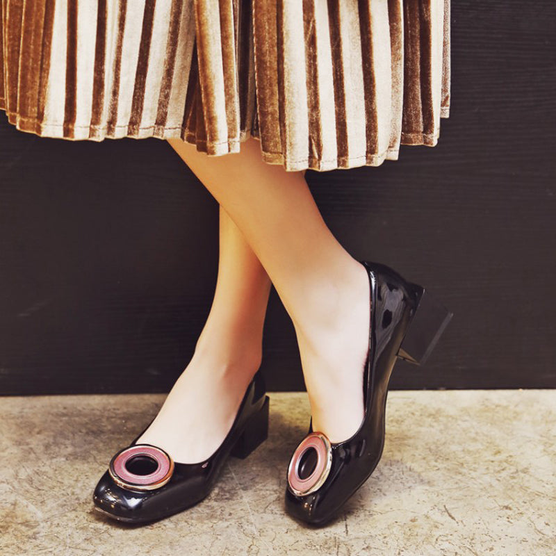 Patent Leather Pure Color Square Toe Block Heel Circle Shape Loafers