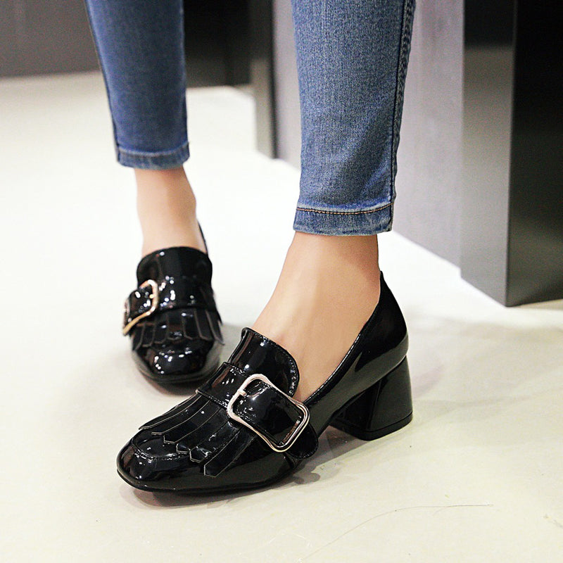 Patent Leather Pure Color Square Toe Block Heel Metal Embellished Tassel Loafers