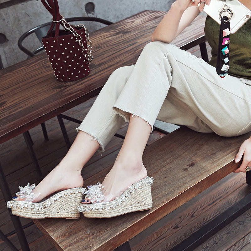Plastic Transparent Open Toe Woven Wedge Heel Crystal Beads Slippers