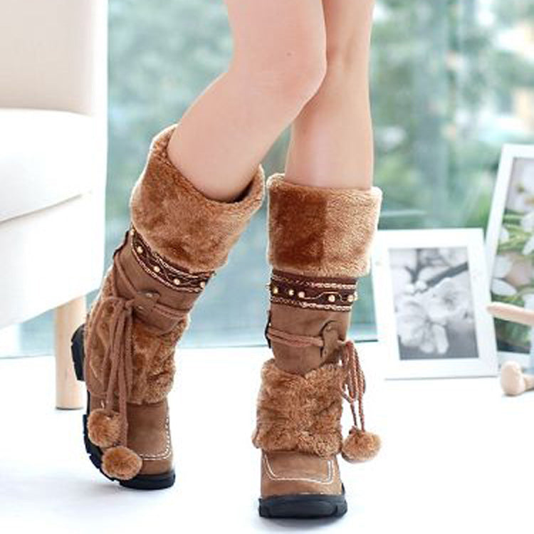 PU And Velvet Casual Pure Flat Heel Round Toe Mid-caf Boots