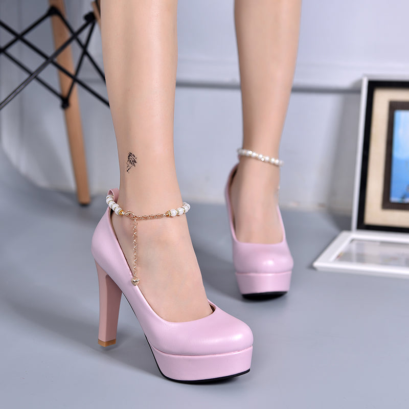 PU Candy Color Round Toe Block Heel Metal Chain With Crystal Ankle Strap Pumps