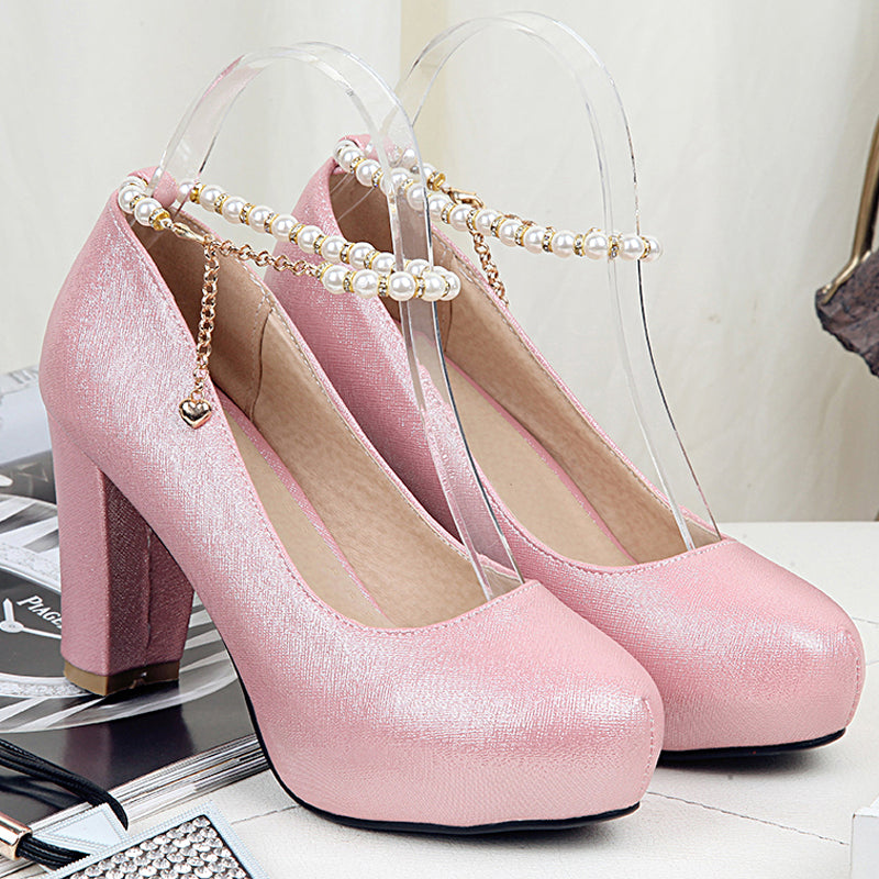 PU Candy Color Round Toe Block Heel Pearl Ankle Strap Pumps