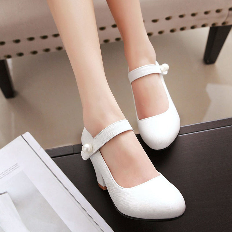 PU Candy Color Round Toe Block Heel Pearl Velcro Fine Lines Mary Janes
