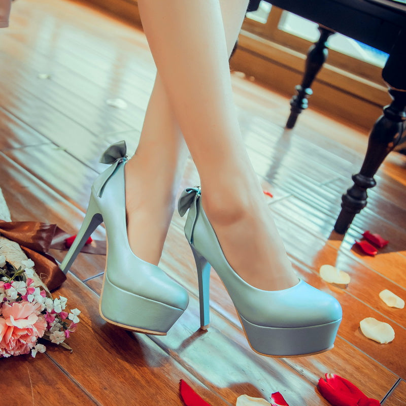 PU Candy Color Round Toe Stiletto Heel Removable Metal Crystal Back Bowtie Pumps