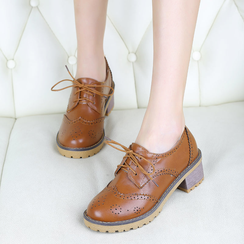 PU Casual Pure Color Block Heel Round Toe Lace Up Brogues