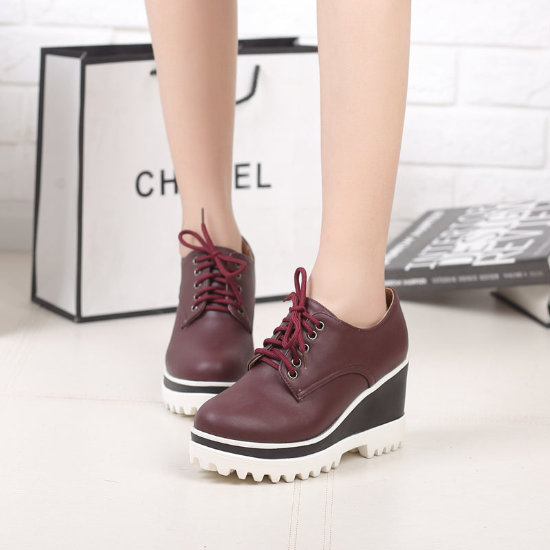PU Casual Pure Color Round Toe Lace Up Wedge Heel Flatform Shoes