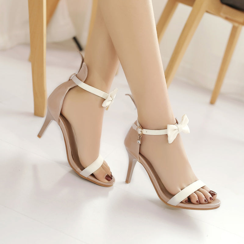 PU Mixed Color Open Toe Kitten Heel Bowtie Ankle Strap Sandals