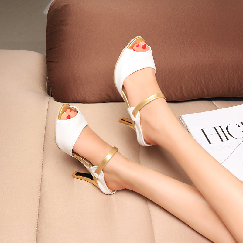 PU Mixed Color Peep Toe Stiletto Heel Ankle Strap Sandals