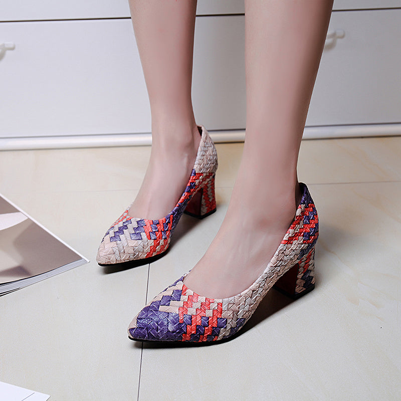 PU Mixed Color Pointy Toe Block Heel Woven Embellished Pumps
