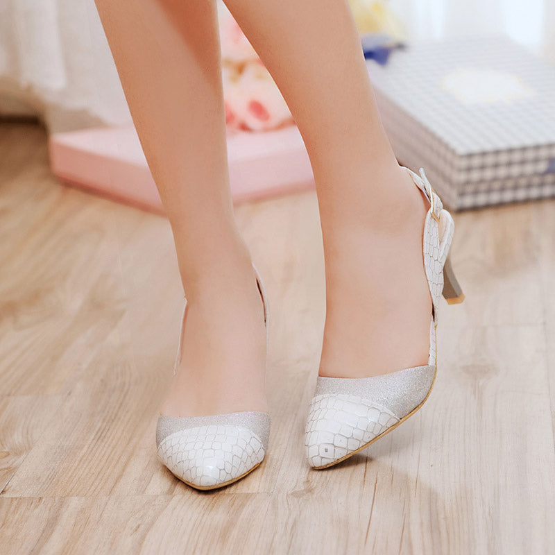 PU Mixed Color Pointy Toe Kitten Heel Plaid Lines Slingback Sandals