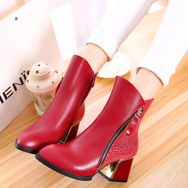 PU Mixed Color Pointy Toe Metal Embellished Block Heel Side Zipper Ankle Boots