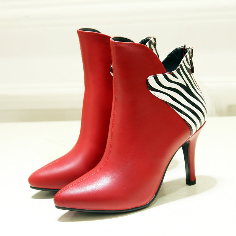PU Mixed Color Pointy Toe Stiletto Heel Back Zipper Ankle Boots