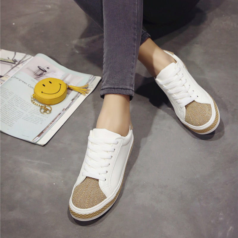 PU Mixed Color Round Toe Flat Heel Lace Up Sneakers