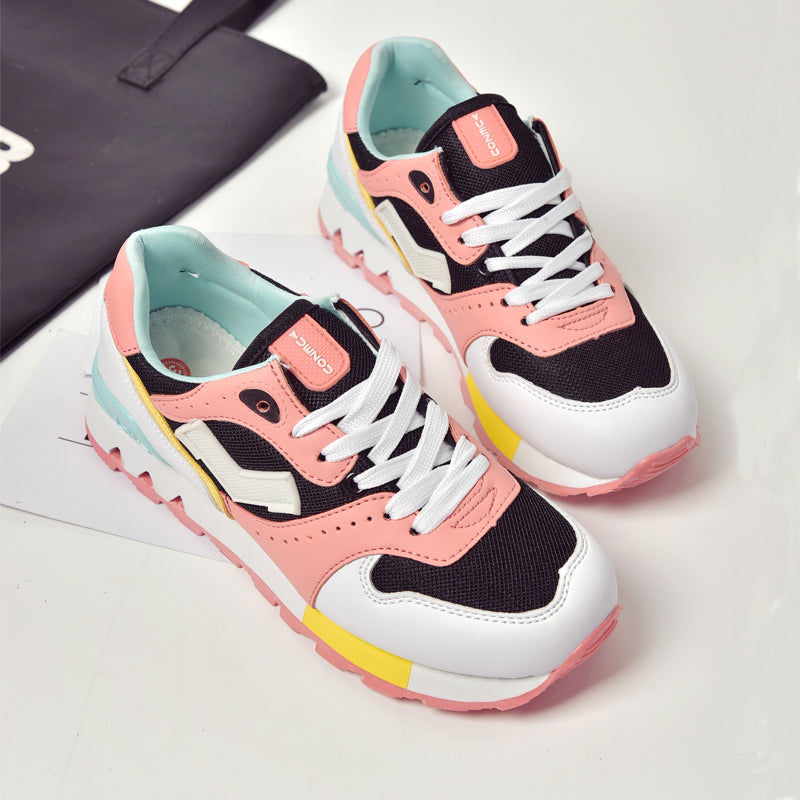 PU Mixed Color Round Toe Low Heel Lace Up Mesh Sneakers