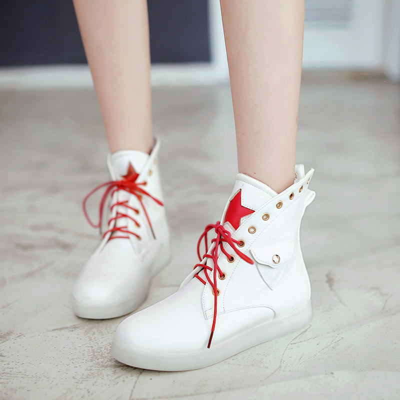 PU Mixed Color Round Toe Flat Heel Lace Up Side Pocket 7 Colors Led Light Star Sneakers