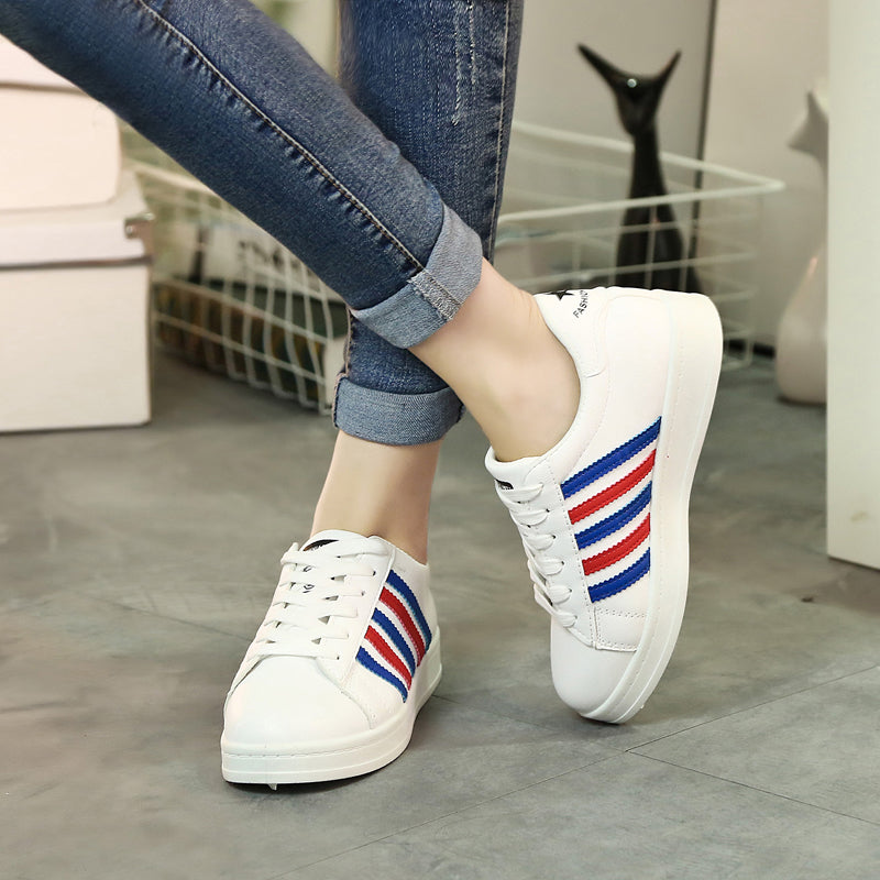 PU Mixed Color Round Toe Lace Up Sneakers