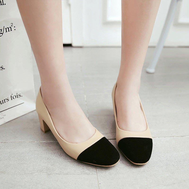 PU Mixed Color Square Toe Block Heel Court Shoes