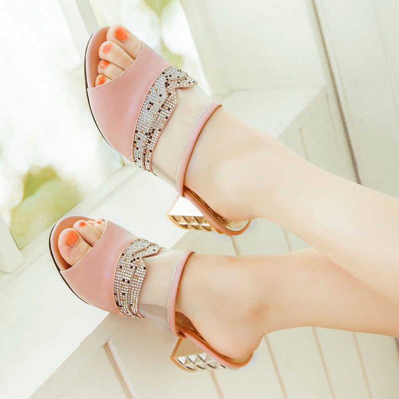 PU Peep Toe Metallic Hollow Carved Block Heel Crystal Pespective Splicing Mules
