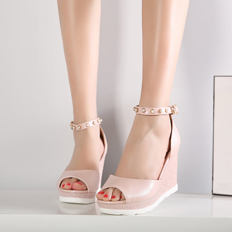 PU Peep Toe Wedge Heel Ankle Strap Pearl Sandals